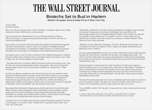 The Wall Street Journal - Harlem Biospace