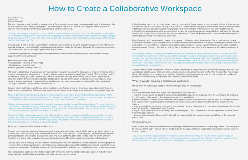 Medical Office Today - How to Create a Collaborative Workspace