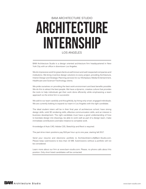 LA Fall 2017 Architect Intern Posting