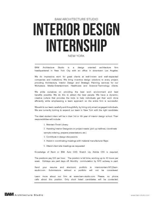 interior design intern bam architecture studio